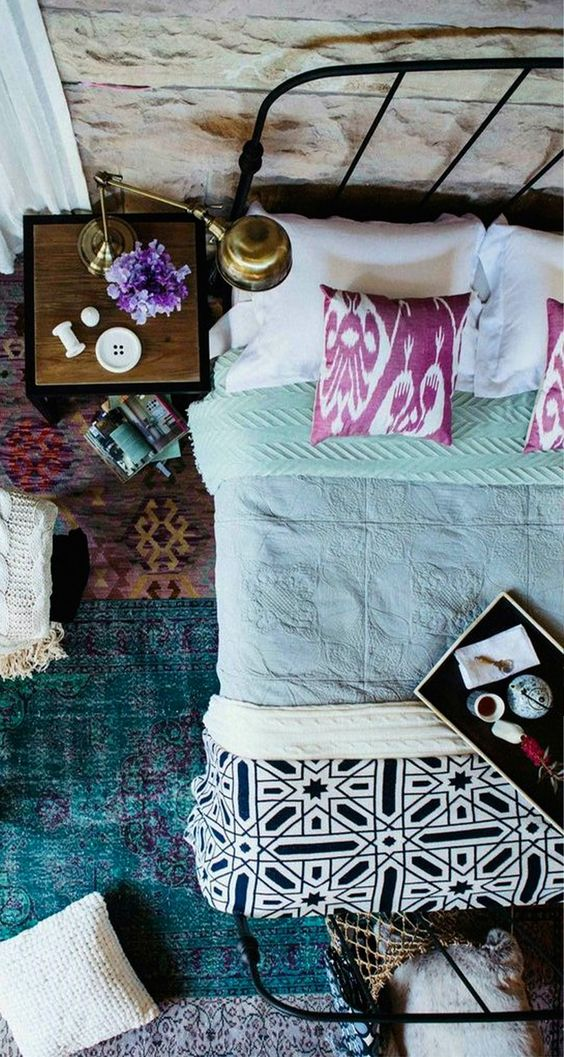 Pattern on pattern for that bohemian-chic feel #interiordesign by Jen Bishop || thehome.com.au