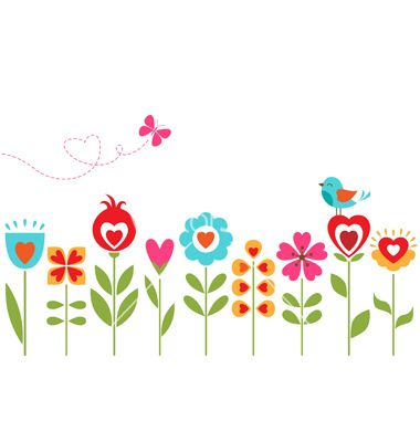 Floral hearts design vector