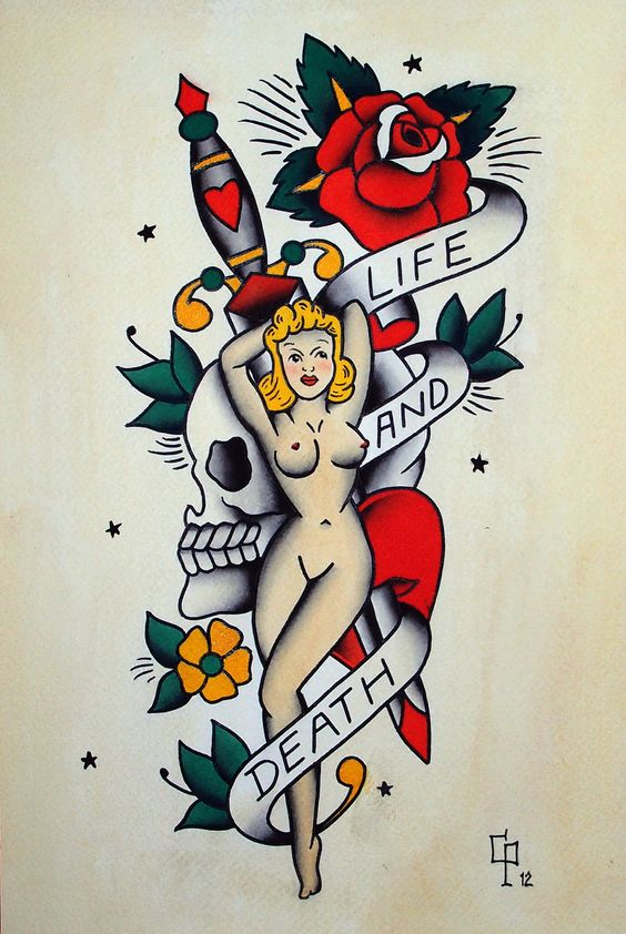 Traditional pin up old school skull and dagger tattoo- hot.: