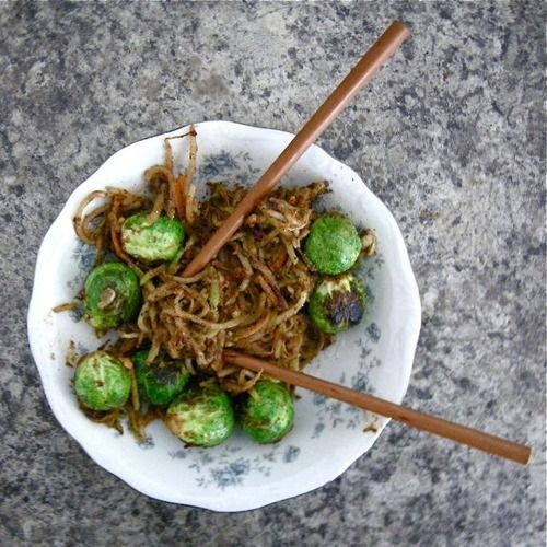 up: fresh brussel sprouts, broccoli slaw, and bean sprouts stir-fried ...