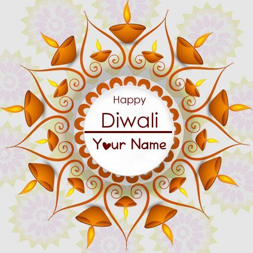 Awesome Lovely Dipawali Candles Decoration Wish Card Name