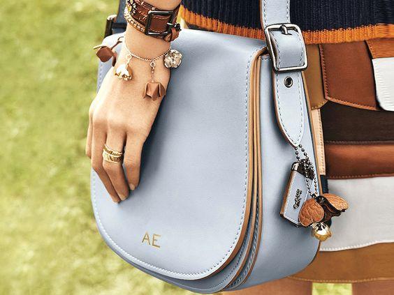 love monograms + coach + handbag + blue + cute + trend +spring '16 + summer style