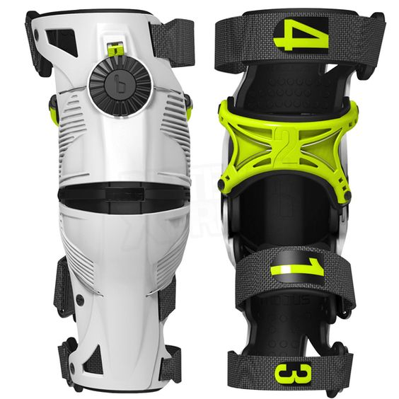 2015 Mobius X8 Knee Braces - White Acid Yellow