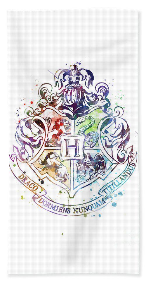 Hogwarts Crest Watercolor Beach Towel For Sale By Monn Print