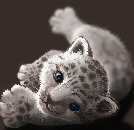 Baby snow leopard - digital art by Athena Erocith