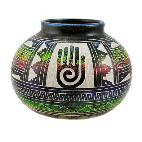 Native American Indian Pottery Horsehair Vase By Marshalene Bennett