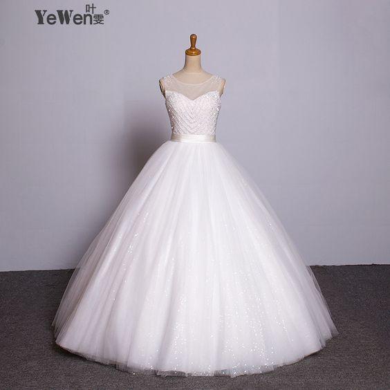 Ball Gown Wedding Dress 2016 Vintage Wedding Dress Puffy Pearl Wedding Dress See Through Real Image on http://ali.pub/5sa39