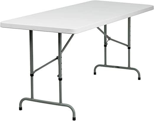 Flash Furniture 6 Foot Height Adjustable Granite White Plastic Folding Table Folding Table Flash Furniture White Plastic Table