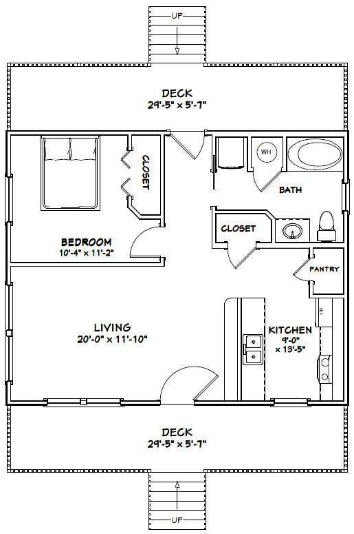 30x24 House 1 Bedroom 1 Bath 720 Sq Ft Pdf Floor Plan Etsy In 2021 Tiny House Floor Plans Barndominium Floor Plans Tiny House Plans Small house design plan pdf