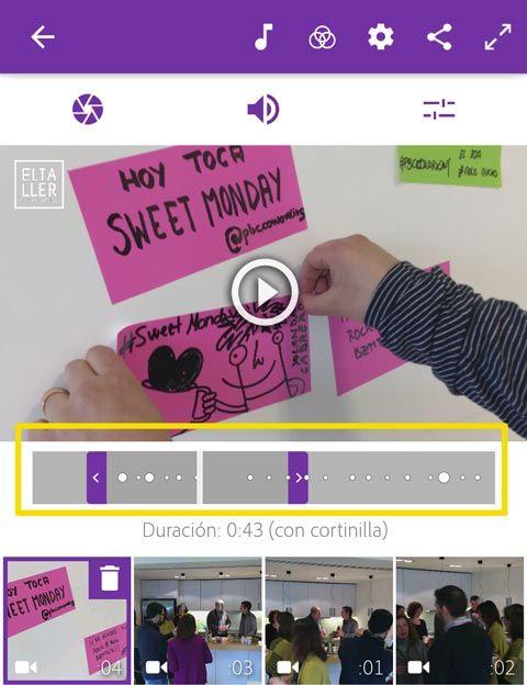 Adobe premiere clip editor de vídeo gratis sin marca de agua para Android y iOS te ayuda a editar tus vídeos al ritmo de la canción elegida