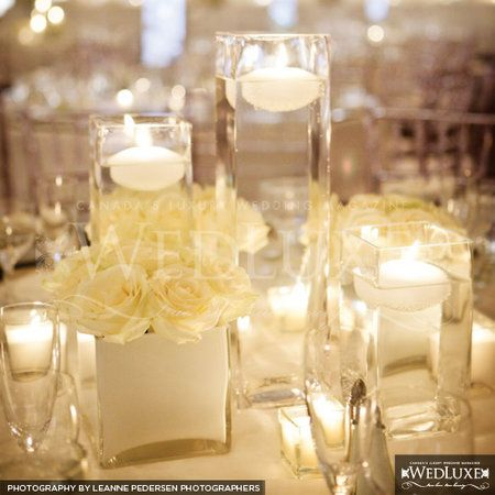 Wedding, Reception, White, Centerpiece, Candle, Floating - Project Wedding: Wedding Inspiration, Centerpiece Ideas, Centerpiece Wedding, White Wedding, Wedding Ideas, Peach Rose, Wedding Reception Centerpieces