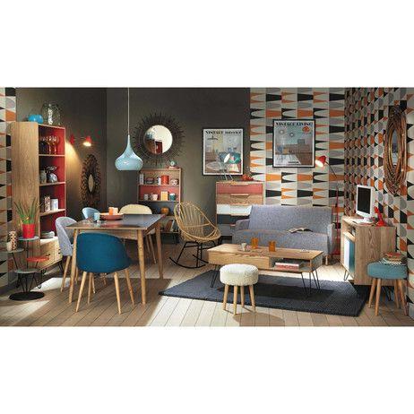 chaise vintage en bouleau massif et tissu bleue mauricette. Black Bedroom Furniture Sets. Home Design Ideas
