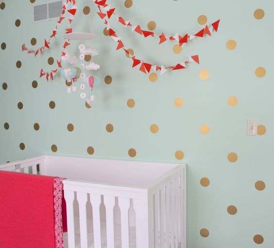 Marion S Coral And Gold Polka Dot Nursery: Gold Polka Dots, Polka Dot Wall Decals And Polka Dot Walls