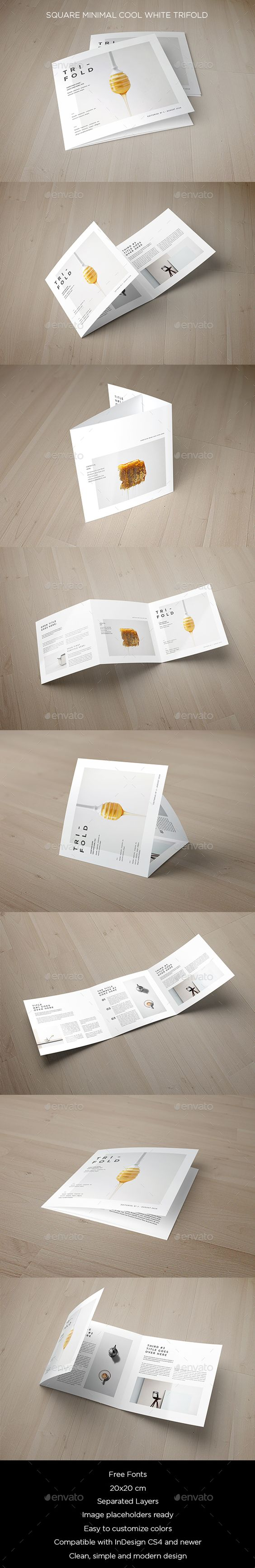 Square minimal cool white trifold postcards brochure for Cool brochure templates