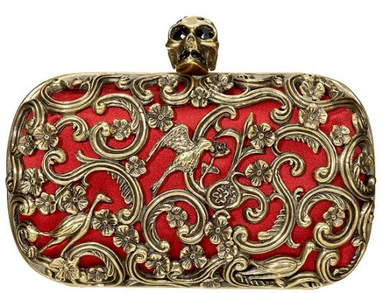The coveted Alexander McQueen Skull Clutch bag.