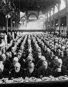 Old men in a London workhouse date unknown but possibly 1880s.