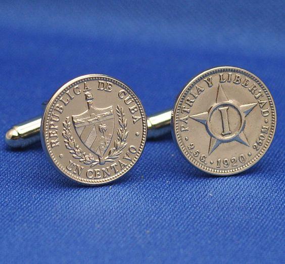 Cuba Pre-Castro 1 Centavo Libertad Coin Cufflinks $27.98