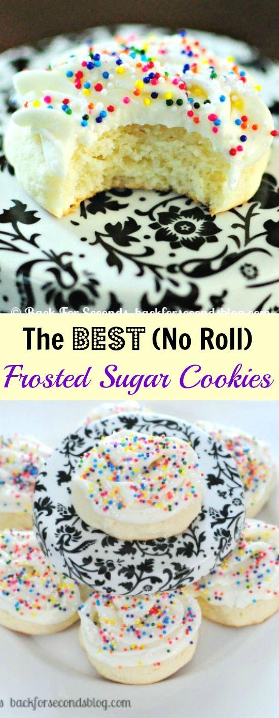 Cakey Sugar Cookies (No Roll) | Recipe | Frosted Sugar Cookies, Sugar ...