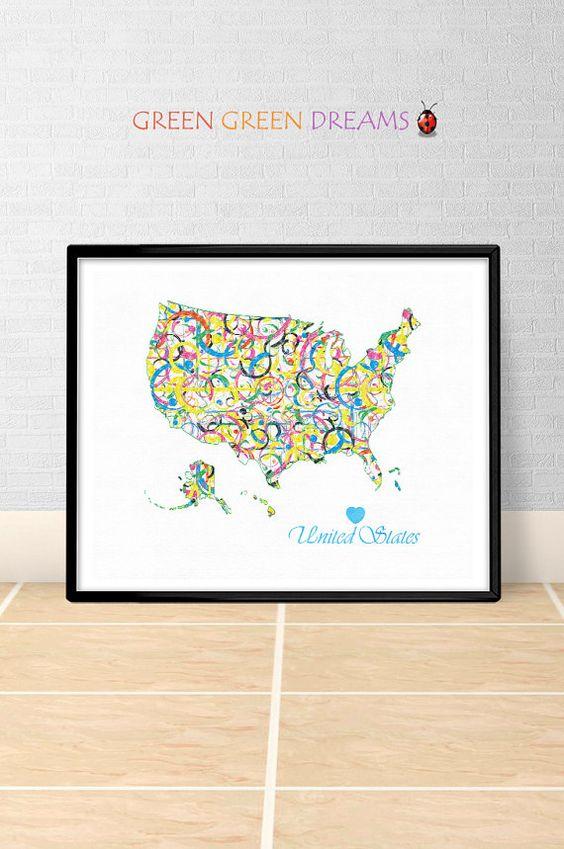 United States Map Print Poster Wall art America US State Maps USA