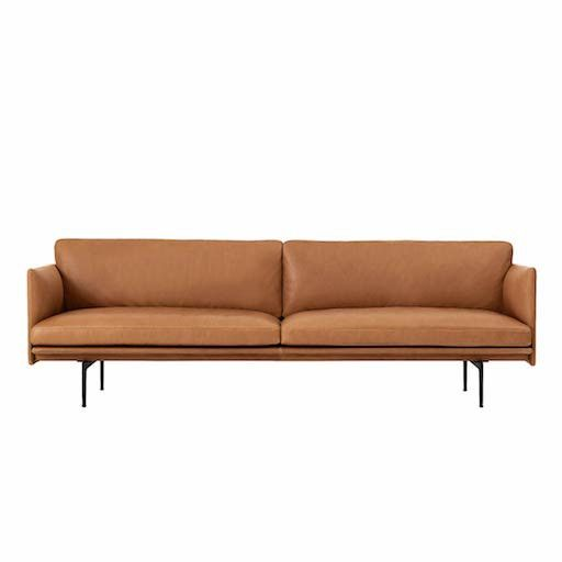 Outline 3 Seater Sofa In Cognac Silk Leather Sofa Furniture Versatile Sofa Leather Sofa