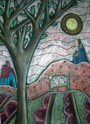 Plum Blooms 9x12 original oil pastel, copyrighted, www.karlagerard.com