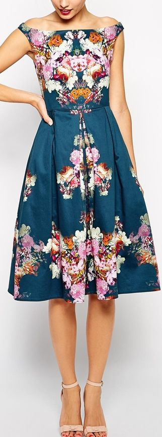 Love the color and pattern, not the neck/sleeve area. floral midi dress: