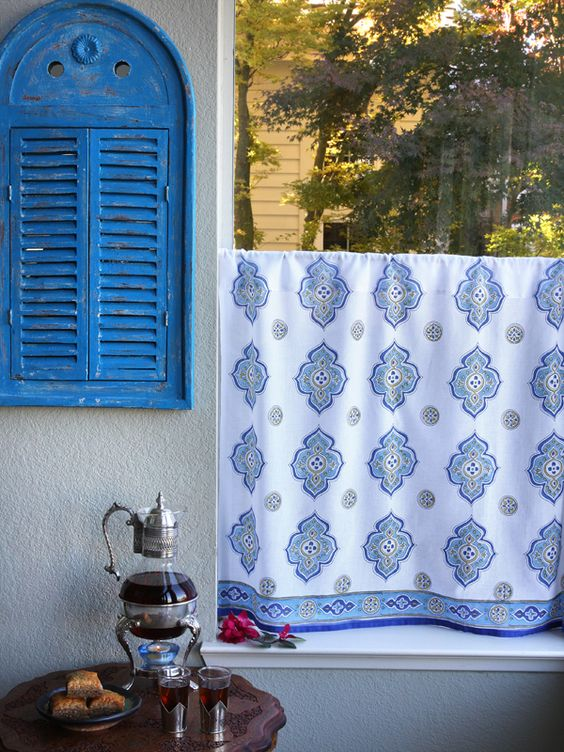 Moroccan Style White Quatrefoil KITCHEN CURTAIN: Our dreamy ...