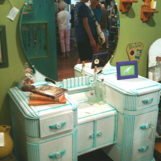 Repainted Vintage Vanity-love the detail, not so much the color!