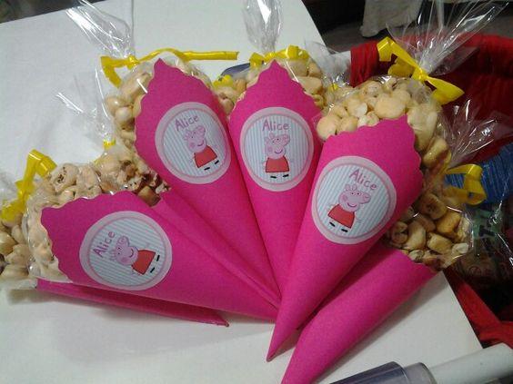 Peppa Pig Party Ideas - Popcorn cone