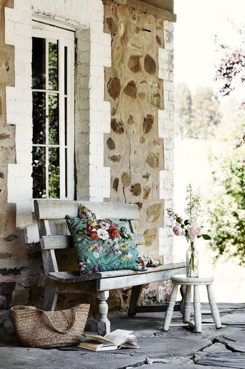 Stone cottage front porch.