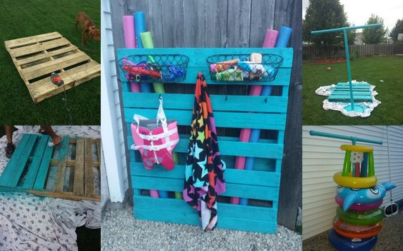 Pool accessory storage solutions. DIY Use an old wood pallate. Lightly sand it down. Use spray paint and color of choice (took us 3 cans). Add baskets and hooks! For the inner tubes use an umbrella stand, pvc piping, and one can of spray paint if you wish to add a splash of color.