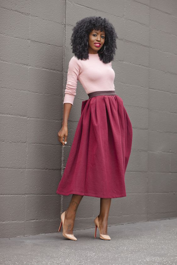 Crew Neck Sweater + Gathered Midi Skirt: