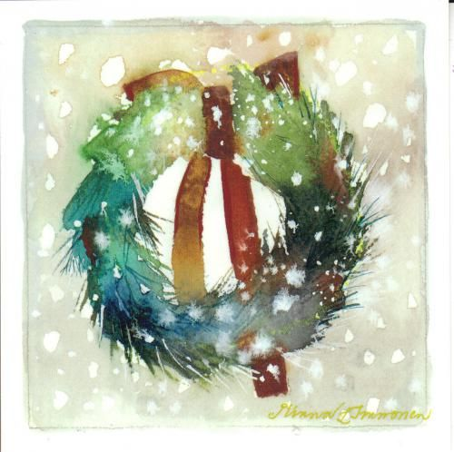 Watercolors wreaths and christmas cards on pinterest Christmas card scenes to paint