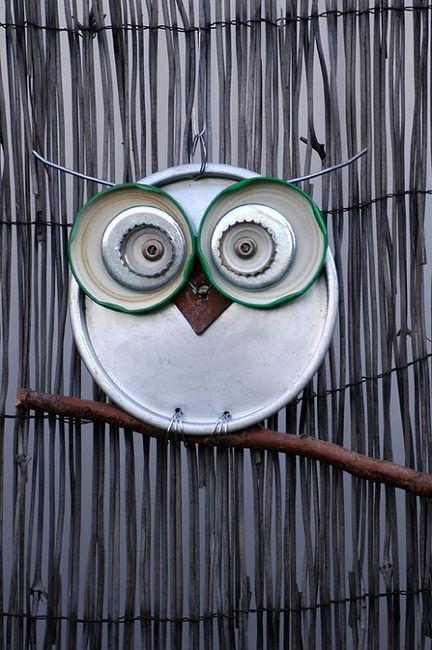 Owl, Jar lids and Cake pans