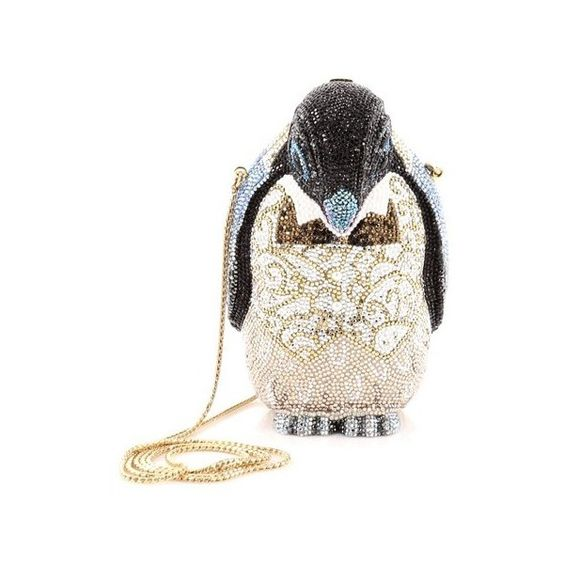 Pre-Owned Judith Leiber Penguin Minaudiere Crystal Small (4,945 ILS) ❤ liked on Polyvore featuring bags, handbags, clutches, multicolor, special occasion clutches, long strap purse, mini handbags, judith leiber minaudiere and coin purse