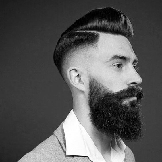 Classy Old School Mens Pompadour With High Skin Fade Hairstyle On Sides