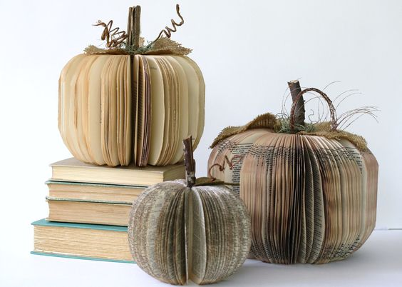 Beautiful and creative — rustic pumpkin decor made from vintage books.