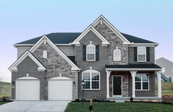 Like the brick and siding too much grey so maybe a white for Mixing brick and stone exterior