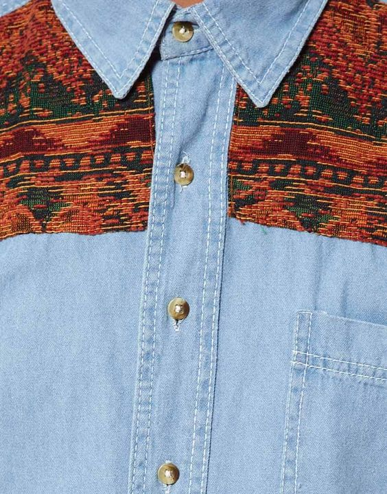 Denim Shirt with Tapestry Panel