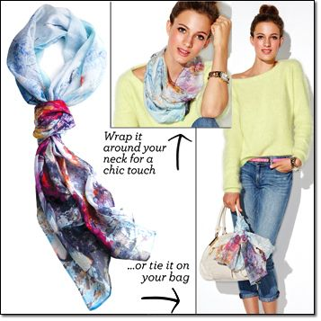 """new  mark. FAWN OVER FLORA SCARF You'll fall head over heels for this pretty, muted floral scarf. Polyester; imported. 71"""" L x 24"""" W Item#: 438-250 Price: $18.00"""