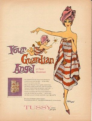 Vintage 1960 ad 910 for #tussy deodorant, your #guardian #angel ad only,  View…