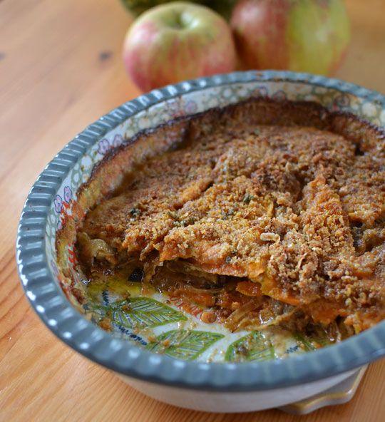 sweet potato gratin with caramelized onions