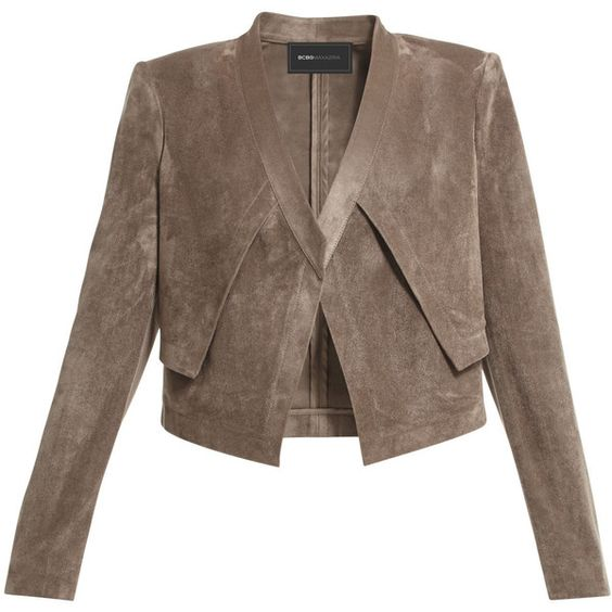 BCBGMAXAZRIA Luke Faux-Suede Cropped Jacket ($99) ❤ liked on ...