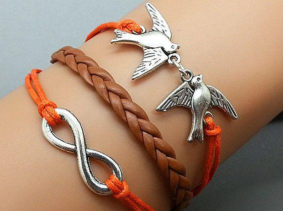 Infinity Bracelet Doves Bracelet Combination Bracelet Antique sliver Star Bracelet Cute Personalized Bracelet
