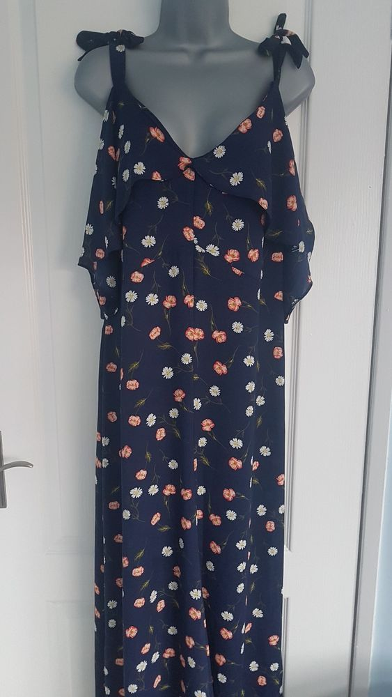 Red Herring Womens Navy Floral Print Floaty Full Length Maxi Dress Uk 16 Fashion Clothing Shoes Accessories Wome Maxi Dresses Uk Dresses Clothes For Women