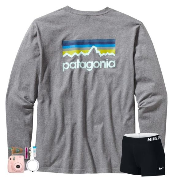 """""""string of white lights making you're eyes shine tonight :)"""" by shannaolo ❤ liked on Polyvore featuring Patagonia, NIKE, Maybelline and Honora"""