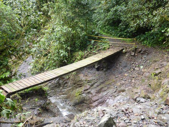 A wooden bridge takes people through the path to San Rafael waterfalls