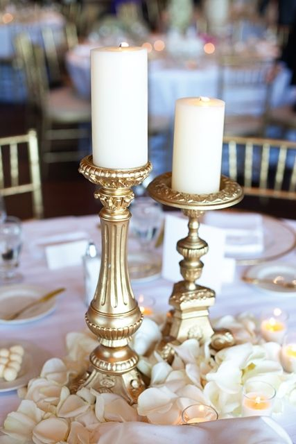 Look for some old candle sticks to spray paint gold: