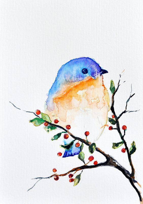 Acuarela ORIGINAL pájaro en un árbol de por ArtCornerShop en Etsy