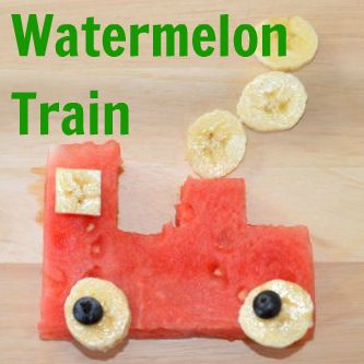 Watermelon Train Snack - with banana and blueberry wheels: Pleasantest Thing: